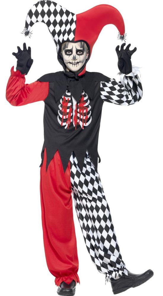 Evil Blood Curdling Jester Boys Kids Childs Halloween Fancy Dress Costume 7-14