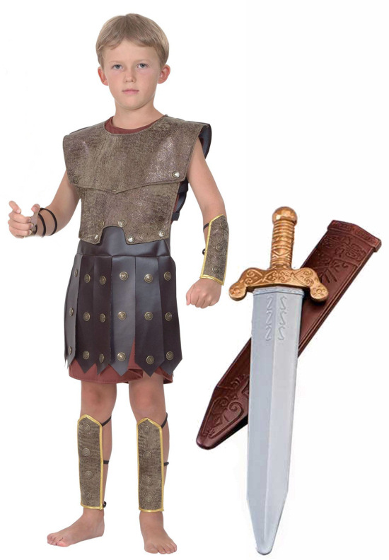 Boys Kids Roman Greek Warrior Army Gladiator Soldier Fancy Dress Costume 4-14