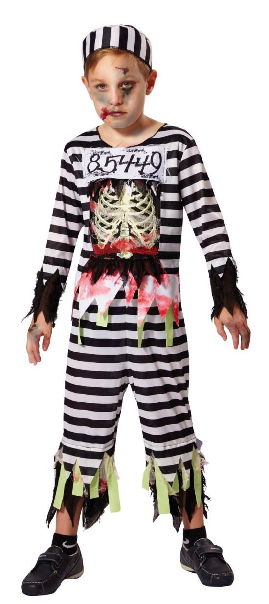 Linea Ragazzo Bambino Zombie Scheletro Prigioniero Carcerato detenuto Halloween Costume