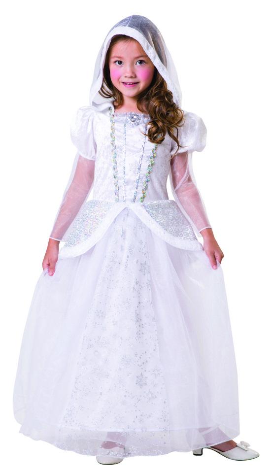 SNOW GIRL FANCY DRESS SNOW WHITE PRINCESS FAIRY TALE COSTUME AGE 4-14
