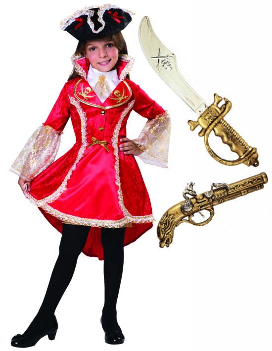 Girls Childs Kids Golden Pirate Caribbean Fancy Dress Costume Age 4-10 Sword