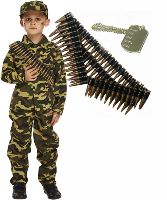 Army Military Boy Kids Soldier Action Man Fancy Dress Costume Outfit Bullets