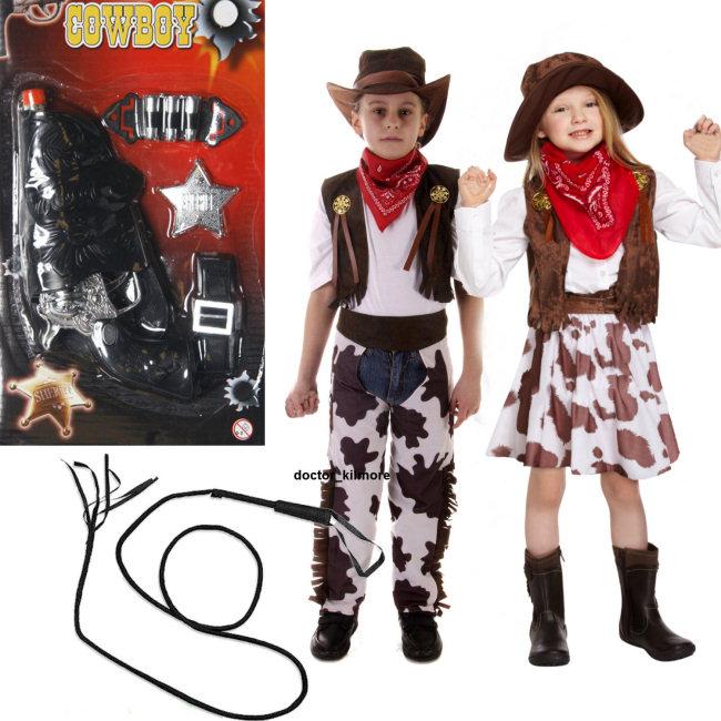 FRUSTA età 3-12 Cowboy COWGIRL ragazzi ragazze bambino Kids Costume OPT PISTOLA