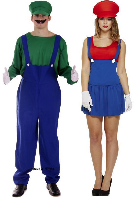 Mens Luigi Ladies Mario Couples 80s 90s Plumber Fancy