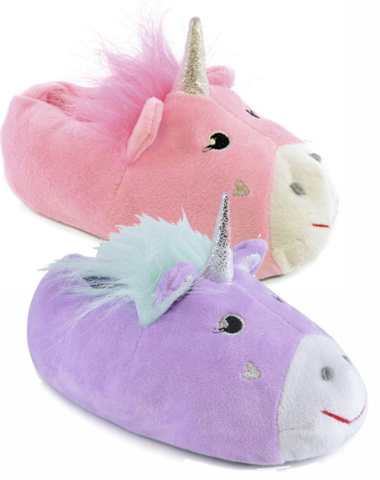 79ff6f9b Details about Girls Kids Childs Unicorn Novelty Plush 3D Fluffy Slippers  Shoes UK 9-3 EU 27-36
